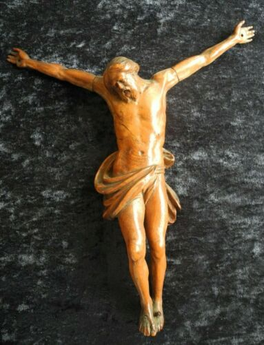 ANTIQUE FINE OAK / FRUITWOOD WOODCARVING / CARVED CORPUS / BODY JESUS CHRIST