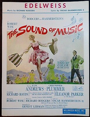 EDELWEISS Vintage Piano Vocal Sheet Music THE SOUND OF MUSIC Andrews Plummer '59