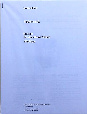 Tegam Ps 5004 Precision Power Supply Instruction Manual Pn 070-4789-01 New