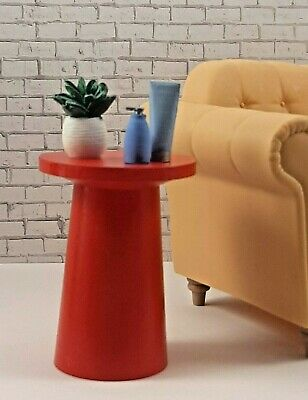 BARBIE-sized RED SIDE TABLE furniture decor LIVING ROOM Dreamhouse FR IT 1/6