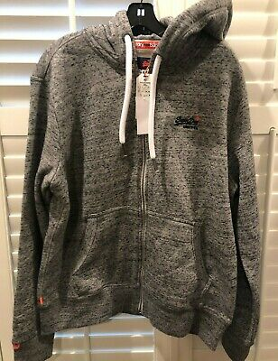 NWT Superdry Men's Orange Label Zip Hoodie Sweatshirt drawstring XXL 2XL Grey