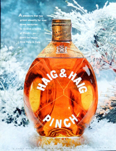 Vintage 1957 Haig & Haig Pinch Scotch Whisky advertisement print ad