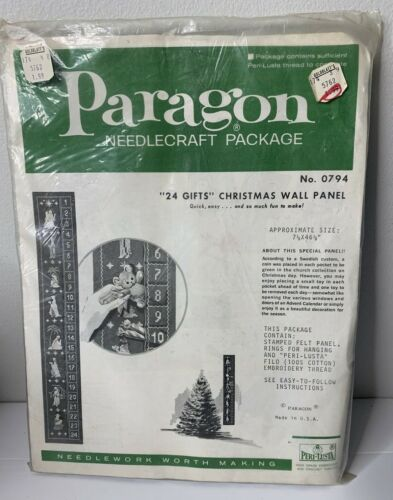 Paragon Applique Felt 24 Gifts Christmas Wall Panel Embroidery Kit 0794