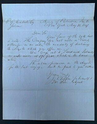 1847 NYC AGENCY OF PROTECTION INSURANCE SHIP ANGOLA TO SANDWICH ISLANDS SALEM MA