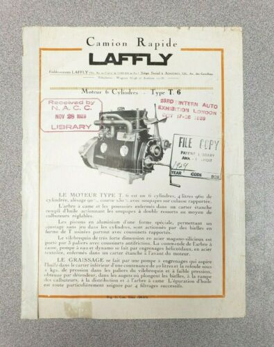 1929 Laffly Type T6 Engine Sales Sheet