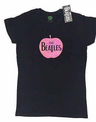The Beatles Pink Apple Drop T Logo - Sparkle Gel Lady Official Black T-Shirt NEW Beatles Ladies T-shirt