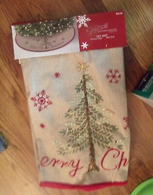"Jaclyn Smith Christmas Tree Skirt Christmas Tidings Canvas Merry Christmas 48"""