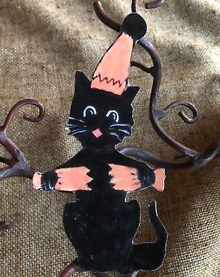 Repro Vintage 1920s Cat in Party Hat,Popper Halloween Cardstock Decoration ,4