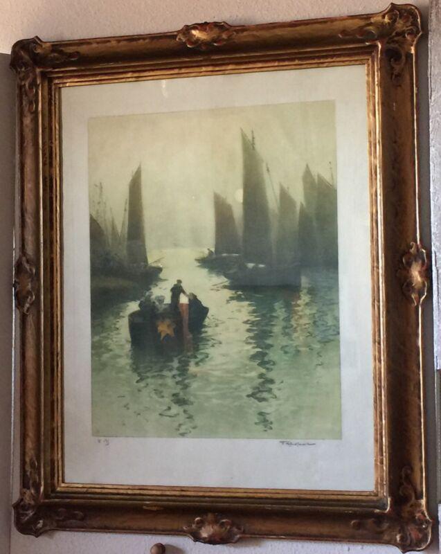Antique Fernand Le Gout-Gerard Aquatint French Harbor & Art Nouveau Gilt Frame