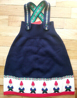 NWT HANNA ANDERSSON GNOME SWEET GNOME SWEATER DRESS NAVY BLUE 75 12-18 M NEW! (Gnome Dress)