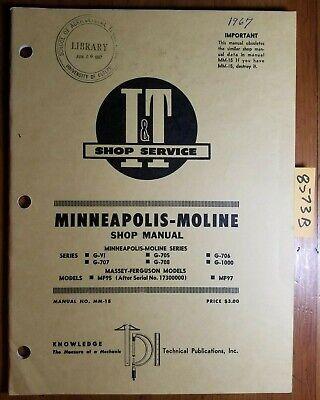 It Minneapolis-moline Gvi G705 G706 G707 G708 G1000 Tractor Shop Service Manual