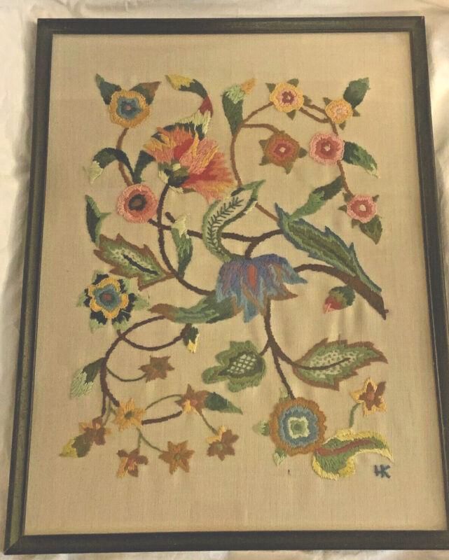 Vintage Large Hand Embroidered Jacobean Crewel Work Finished Framed #1