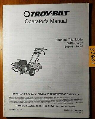 Troy-bilt 664d E666m Pony Rear-tine Tiller Owner Operators Parts Manual 1102