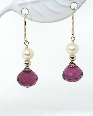 14k Yellow Gold Pink Rubellite Tourmaline Briolette White Pearl Dangle Earrings Briolette Dangle Earrings
