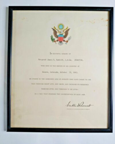 1943 Military In Memory of Certificate Signed President Franklin D. Roosevelt