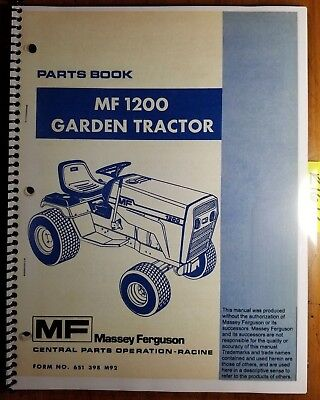 Massey Ferguson Mf 1200 Garden Tractor Att Parts Book Manual 651 398 M92 478