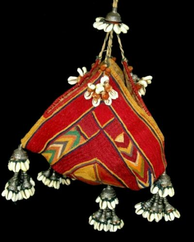 STUNNING! ANTIQUE VTG TRIBAL BANJARA INDIA EMBROIDERED BAG COWRIE SHELL TASSELS