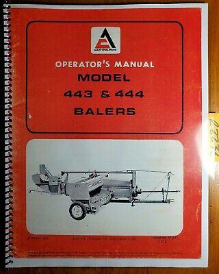 Allis-chalmers 443 444 Baler Owners Operators Manual 574571 70574571 1172