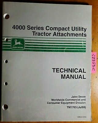 John Deere 4000 Series Compact Utility Tractor Attachments Technical Manual 799