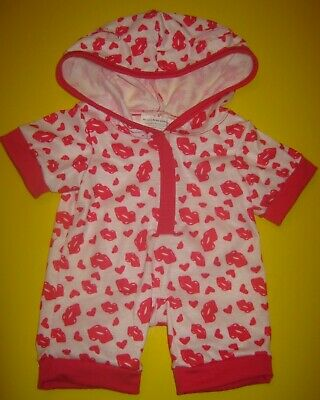 Build-A-Bear VALENTINE HEARTS HOODIE SLEEPER One-Piece PAJAMAS Heart Pink