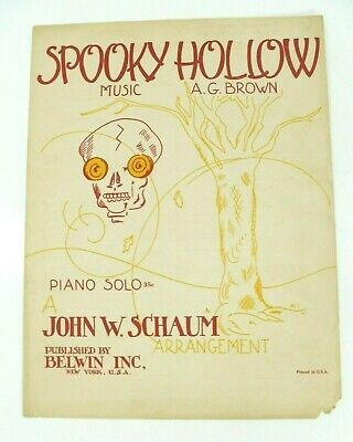 Halloween Sheet Music For Piano (Vintage 1946 Spooky Hollow Sheet Music AG Brown Piano Solo)