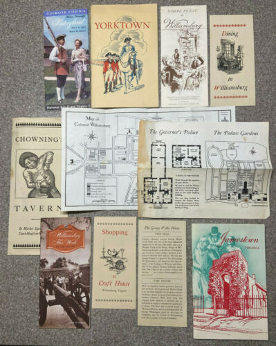 LOT - Colonial Williamsburg/Jamestown/Yorktown Vintage Book, Pamphlet, Guide,Map