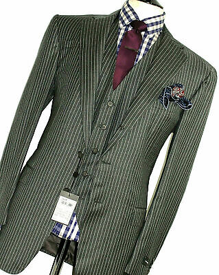 BNWT MENS ERMENEGILDO ZEGNA PREMIUM COLLECTION PINSTRIPE 3 PIECE SUIT 42R W36
