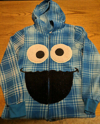 Hooded Cookie Monster Fleece Pajamas Halloween Costume Sesame Street Size Small