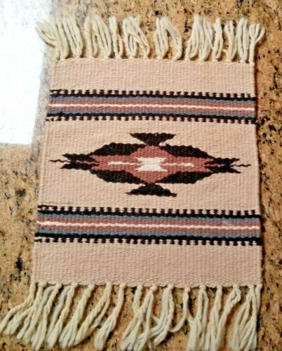"""VINTAGE CHIMAYO STYLE HAND WOVEN BEIGE WOOL TABLE MAT - 10½""""x11"""" INDIAN MOTIF"""