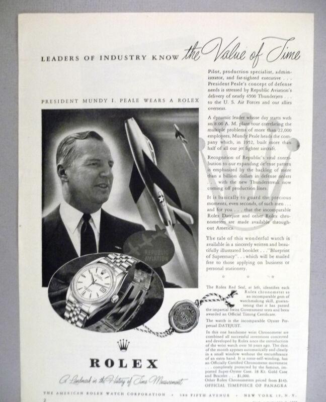 Rolex Watch PRINT AD - 1953 ~~ wristwatch, watches