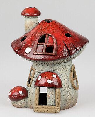 Formano Windlicht Pilzhaus handbemalt Dekofigur Haus Gartendeko Terrasse 772923