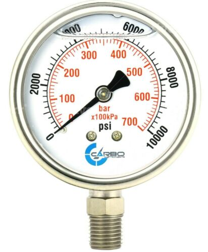 "2-1/2"" Pressure Gauge, ALL STAINLESS STEEL, Liquid Filled, Lower Mnt, 10000 Psi"