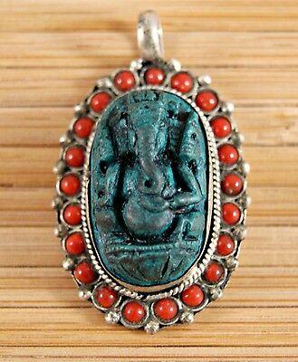 Anhänger Ganesha ~ Türkis Koralle Silber ~ Original Nepal (1123)
