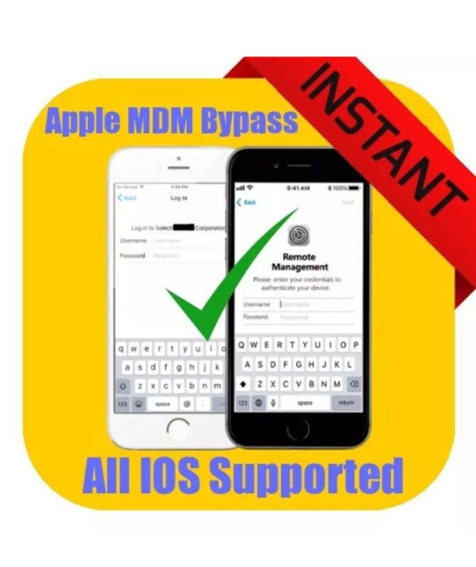 APPLE MDM/ REMOTE MANAGEMENT BYPASS iPHONE/ iPOD/ iPAD IOS  TILL 13.7 SUPPORTED