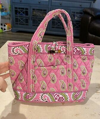 Vera Bradley PINK BERMUDA Shoulder Tote Bag Paisley Handbag w/ Toggle Closure