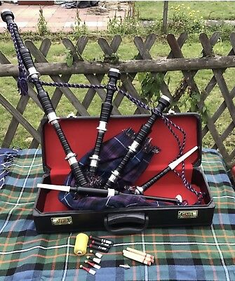 Great Highland Rosewood Bagpipe Full Silver Amounts With Hard Case +Tutor Book, used for sale  Shipping to Canada