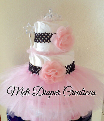 Baby Girl Diaper Cake, Princess with Tutu 3-tier diaper cake, Baby shower gift