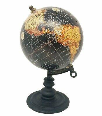Mini Round Earth Globe World on wood Stand Holder Desk Decor Art Old Look