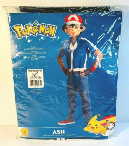 Rubies Pokemon Ash Halloween Costume Size Medium 8-10 For Years 5-7 - Brand New