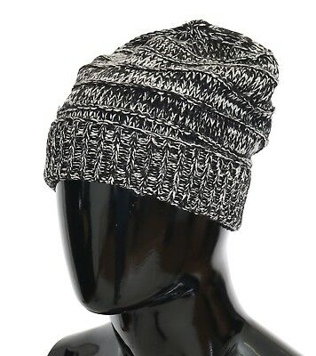 NEW $240 DOLCE & GABBANA Hat Beanie Wool Black White Winter Warm Mens One Size Dolce & Gabbana Hat