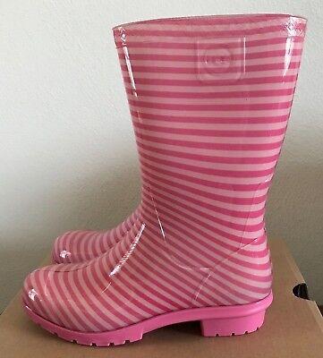 UGG Kids Girls Size 2 Raana Stripes Pink Azalea Rubber Rain Boots Waterproof
