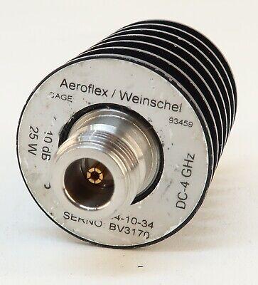 Aeroflex Weinschel 34-10-34 Medium Power Fixed Coaxial Attenuator 4ghz 25w 10db