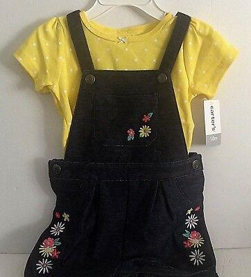 Carters Baby Girl Overall Set 18M Yellow Polka Dot Shirt Denim Overalls New - Denim Overall-set