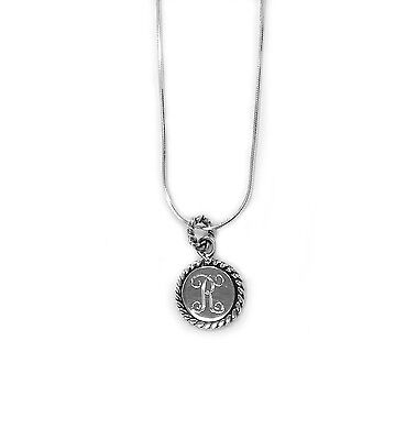Rope Edge Sterling Silver Monogram Pendent, 925 Personalized Round Pendent