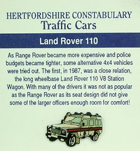 HERTFORDSHIRE CONSTABULARY LANDROVER 110 V8 POLICE CAR TIE PIN LAPEL BADGE