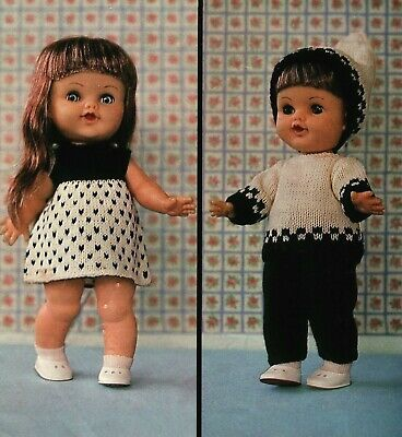 """Knitting Pattern to make vintage dolls clothes for 11"""" Rosebud doll  3ply"""