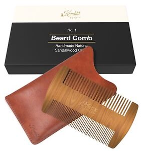 Kanddit Dual Action Beard Comb Perfect for Balms/Oils Natural Handmade With Case