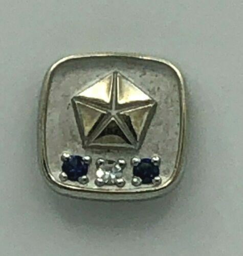 Vintage Chrysler Plymouth 30 Year Service Award Pin 10K Gold Sapphires Diamonds