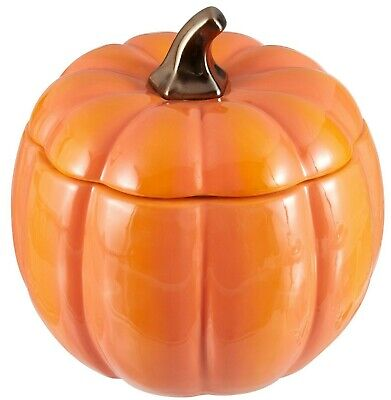Autumn Fall Halloween Ceramic Large Orange Pumpkin Cookie Jar Canister NEW