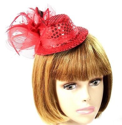 Red Sequin Mini Hat Fascinator Mesh Bow Pearls Feather Spray Society - Red Sequin Hat